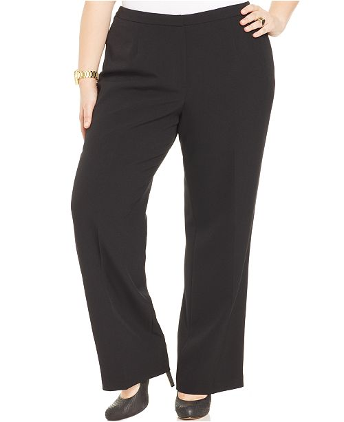 Straight Crepe Plus Size Kasper Leg Black Pants wZE1nq