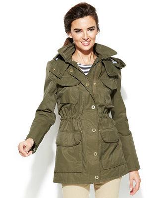 tommy hilfiger hooded cinch waist anorak jacket coats. Black Bedroom Furniture Sets. Home Design Ideas