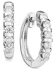 14k White Gold Channel-Set Diamond Hoop Earrings (1/2 - 1 ct. t.w.)