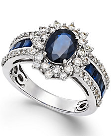 Sapphire (2-1/5 ct. t.w.) and Diamond (3/4 ct. t.w.) Ring in 14k White Gold (Also Available in Emerald & Ruby)