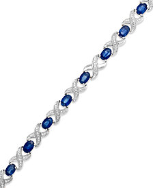 Sapphire (8 ct. t.w.) and Diamond Accent XO Bracelet in Sterling Silver (also in Ruby and Emerald)