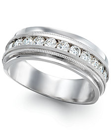 Men's Diamond Milgrain Trim Ring in 14k White Gold (1 ct. t.w.)
