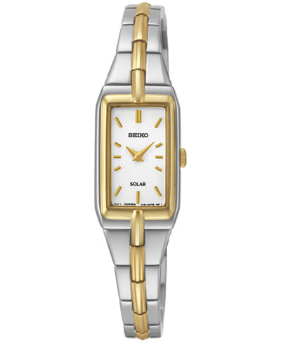 Seiko Women's Solar Two-Tone Stainless Steel Bracelet Watch 15mm SUP272