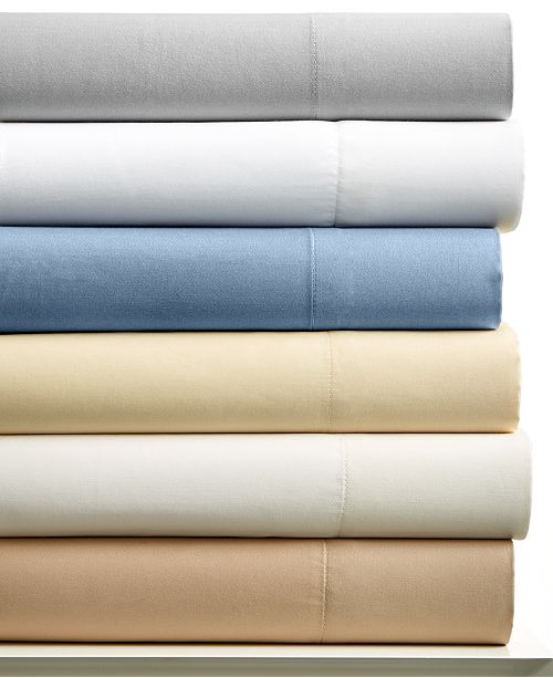 Charter Club CLOSEOUT! Cotton 400 Thread Count Wrinkle Resistant Tailored Fit Solid Full Sheet Set, Created for Macy's