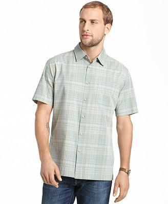 Van heusen no iron plaid pocket short sleeve shirt for Van heusen iron free shirts