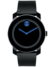 Movado Men's Swiss Bold Black Leather Strap Watch 42mm 3600307