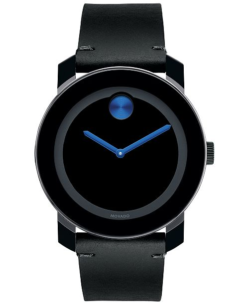 Movado Men S Swiss Bold Black Leather