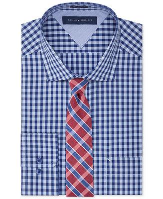 Tommy hilfiger easy care blue on blue gingham dress shirt for Tommy hilfiger gingham dress shirt