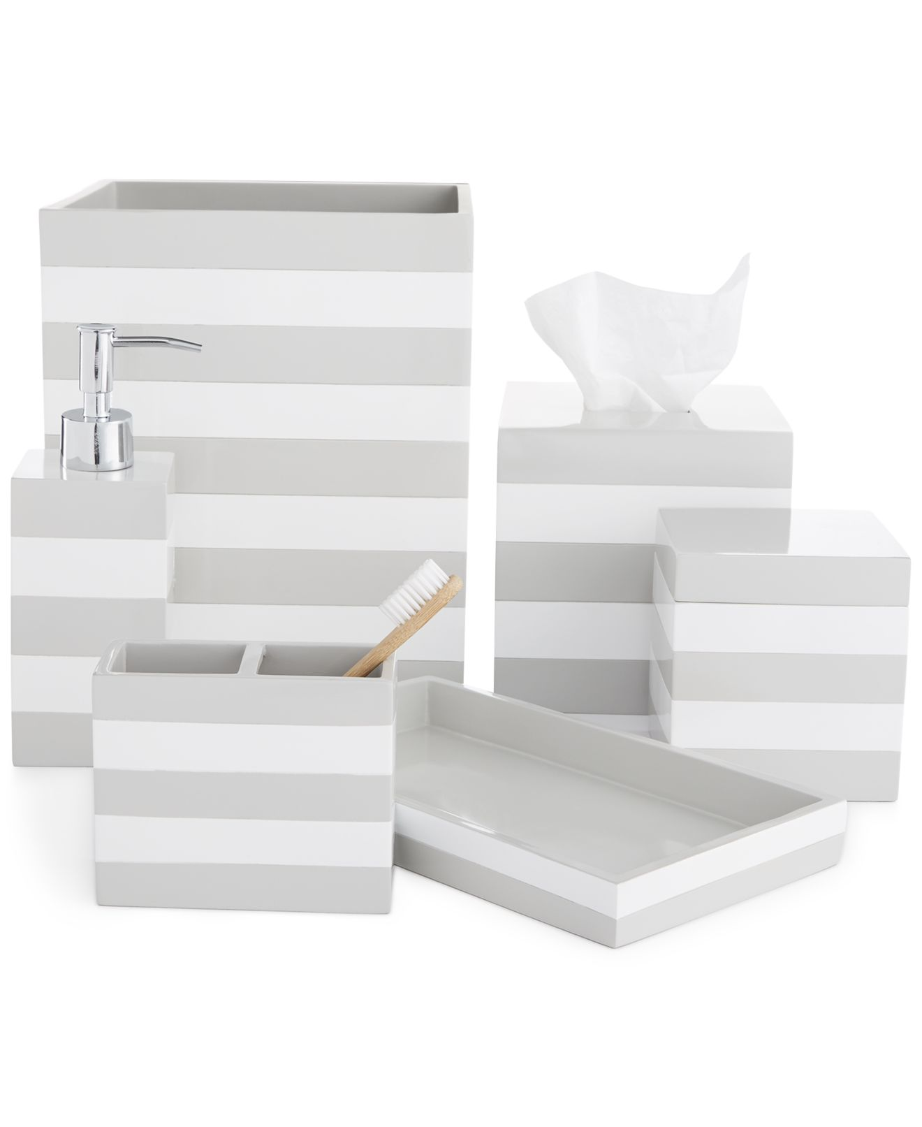 white and grey bathroom accessories. grey and white bathroom