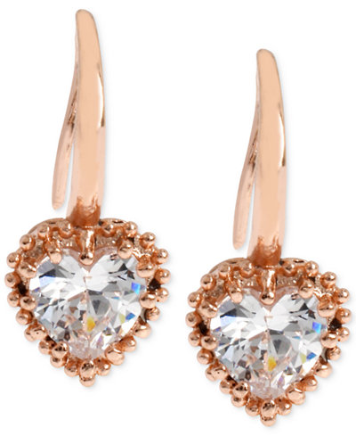 Betsey Johnson Rose Gold-Tone Crystal Heart Drop Earrings