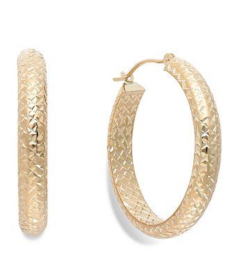 Diamond-Cut Hoop Earrings in 10k Gold, 26mm