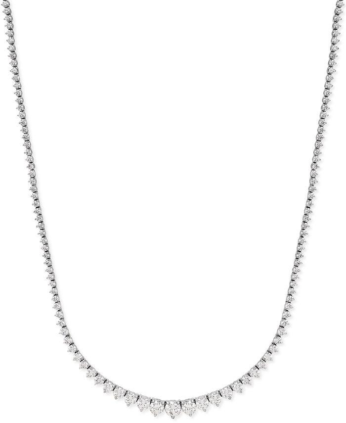 Macy's - Diamond Riviera Chain Necklace in 14k White Gold (10 ct. t.w.)
