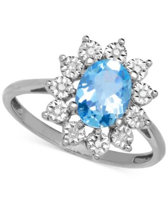 Blue Topaz (1-3/8 ct. t.w.) and Diamond Accent Ring in 14k White Gold