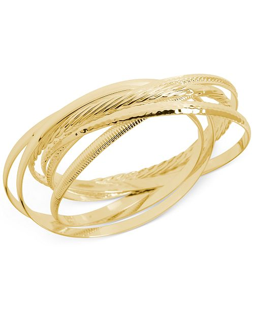 Textured Bangle Bracelet Set In 14k Gold Plated Br