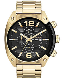 Diesel Men's Chronograph Overflow Gold-Tone Stainless Steel Bracelet Watch 51mm DZ4342