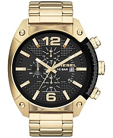 Diesel Men's Chronograph Overflow Gold-Tone Stainless Steel Bracelet Watch 51mm DZ4342