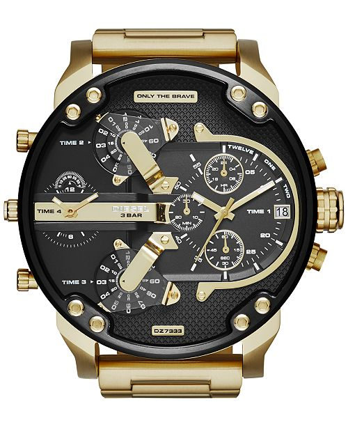 Diesel Men's Mr. Daddy 2.0 Gold-Tone Ion-Plated Stainless Steel Bracelet Watch 57mm DZ7333