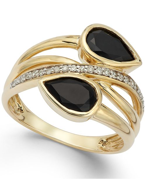Macy's Onyx (1-3/8 ct. t.w.) and Diamond (1/10 ct. t.w.) Ring in 14k Gold