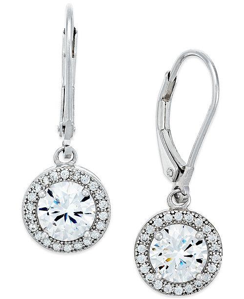 Giani Bernini Cubic Zirconia Halo Drop Earrings In Sterling Silver Or 18k Gold Over