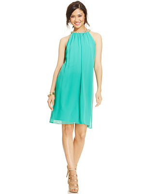 MSK Jewel-Neck Chiffon Halter Dress - Dresses - Women - Macy's
