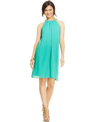 MSK Jewel-Neck Chiffon Halter Dress - Dresses - Women - Macy's