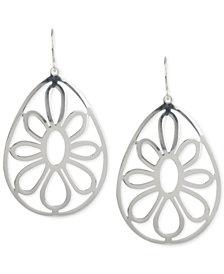 Touch of Silver Openwork Flower Teardrop Earrings in Silver-Plated Metal