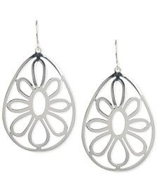 Touch of Silver Openwork Flower Teardrop Earrings in Silver-Plated Metal