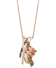 Chocolatier® Peach Morganite (1-3/4 ct. t.w.) and Diamond (5/8 ct. t.w.) Pendant Necklace in 14k Rose Gold, Created for Macy's