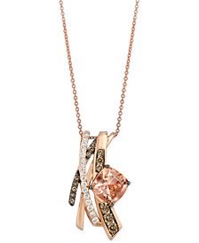 Le Vian Chocolatier® Peach Morganite (1-3/4 ct. t.w.) and Diamond (5/8 ct. t.w.) Pendant Necklace in 14k Rose Gold, Created for Macy's