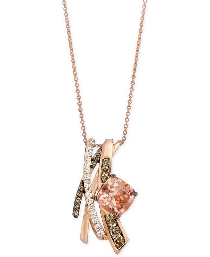 Le Vian - Morganite (1-3/4 ct. t.w.) and Diamond (5/8 ct. t.w.) Pendant Necklace in 14k Rose Gold