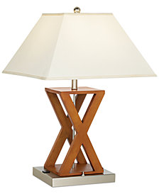 CLOSEOUT! Pacific Coast X-Shape Wood Outlet Table Lamp