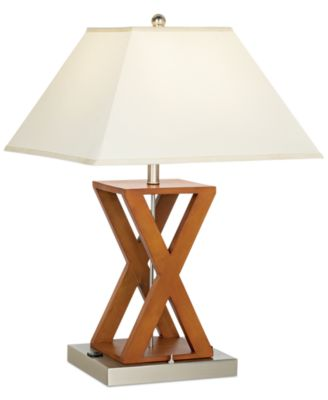 Pacific Coast X Shape Wood Outlet Table Lamp