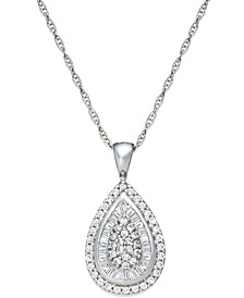 Diamond Teardrop Pendant Necklace in 14k White Gold (1/2 ct. t.w.), Created for Macy's
