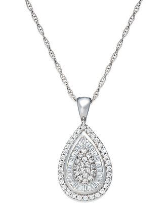 Fine Jewelry Womens 1 1/2 CT. T.W. White Diamond 14K Gold Pendant Necklace