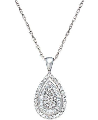 Wrapped in Love™ Diamond Teardrop Pendant Necklace in 14k White Gold (1/2 ct. t.w.), Created for Macy's
