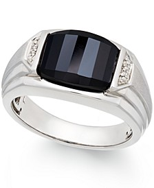 Men's Onyx (4-1/2 ct. t.w.) and Diamond Accent Ring in Sterling Silver