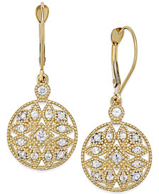 White Sapphire (1/2 ct. t.w.) Filigree Drop Earrings in 14k Gold