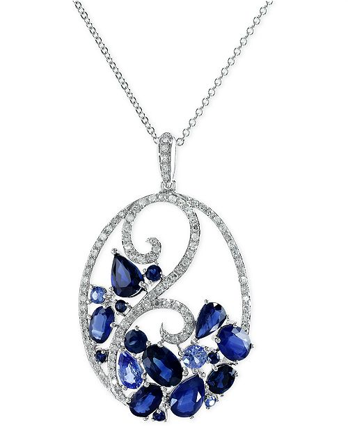 EFFY Collection EFFY® Sapphire (3-3/4 ct. t.w.) and Diamond (1/3 ct. t.w.) Pendant Necklace 14k White Gold