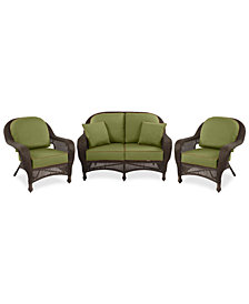 Monterey Outdoor Wicker 3-Pc. Seating Set (1 Loveseat & 2 Club Chairs) with Custom Sunbrella®,  Created for Macy's