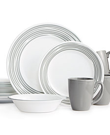 Corelle Brushed Silver 16 Pc Dinnerware Set Service For 4