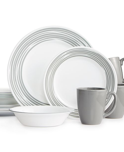 corelle brushed silver 16 pc dinnerware set service for 4 reviews dinnerware dining. Black Bedroom Furniture Sets. Home Design Ideas