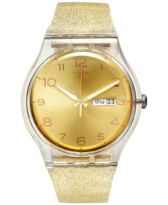 swatch womenus swiss golden sparkle goldtone glitter silicone strap watch mm