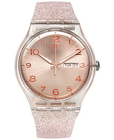 Swatch Women's Swiss Pink Glistar Pink Glitter Semi-Transparent Silicone Strap Watch 41mm SUOK703