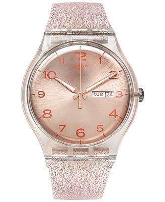 Swatch Women S Swiss Pink Glistar Pink Glitter Semi