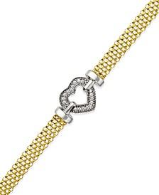 Diamond Heart Bracelet in 14k Gold Vermeil and Sterling Silver (1/8 ct. t.w.)