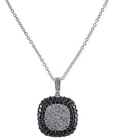 EFFY Black and White Diamond Square Pendant Necklace in 14k White Gold (2 ct. t.w.)
