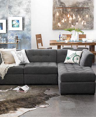 Furniture Closeout Roxanne Fabric Square Corner Unit Created For
