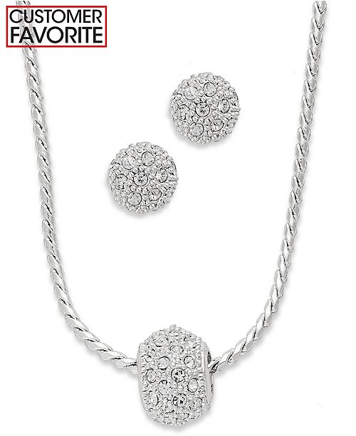 Charter Club Silver-Tone Glass Crystal Necklace and Stud Earrings