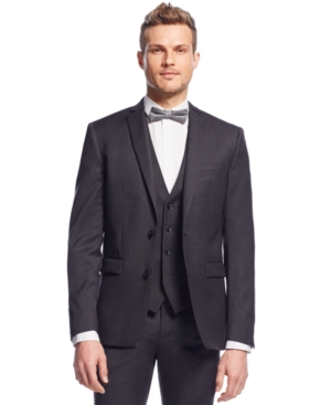 Men's Vintage Style Suits, Classic Suits Bar Iii Charcoal Solid Extra Slim-Fit Jacket $105.99 AT vintagedancer.com