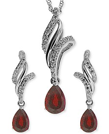 Ruby (1 ct. t.w.) and White Topaz (3/8 ct. t.w.) Jewelry Set in Sterling Silver